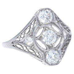 Edwardian Diamond Platinum Filigree Ring