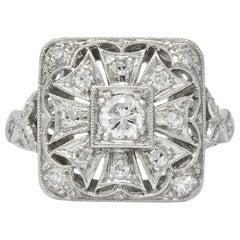 Edwardian Diamond Platinum Geometric Dinner Ring