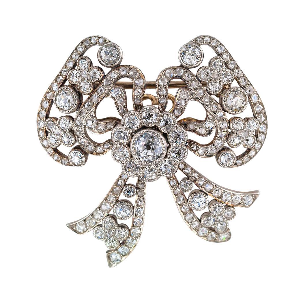 Edwardian Diamond Platinum Gold Bow Brooch