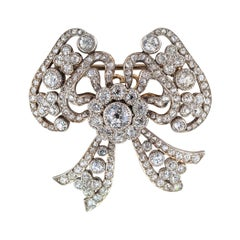 Edwardian Diamond Platinum Gold Bow Brooch
