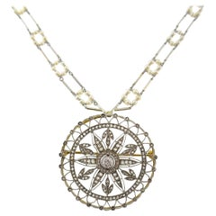 Edwardian Diamond Platinum Gold Pendant Pin Necklace Brooch Seed Pearl