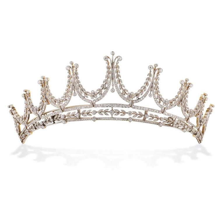 Edwardian Diamond Platinum Gold Tiara In Excellent Condition For Sale In London, GB