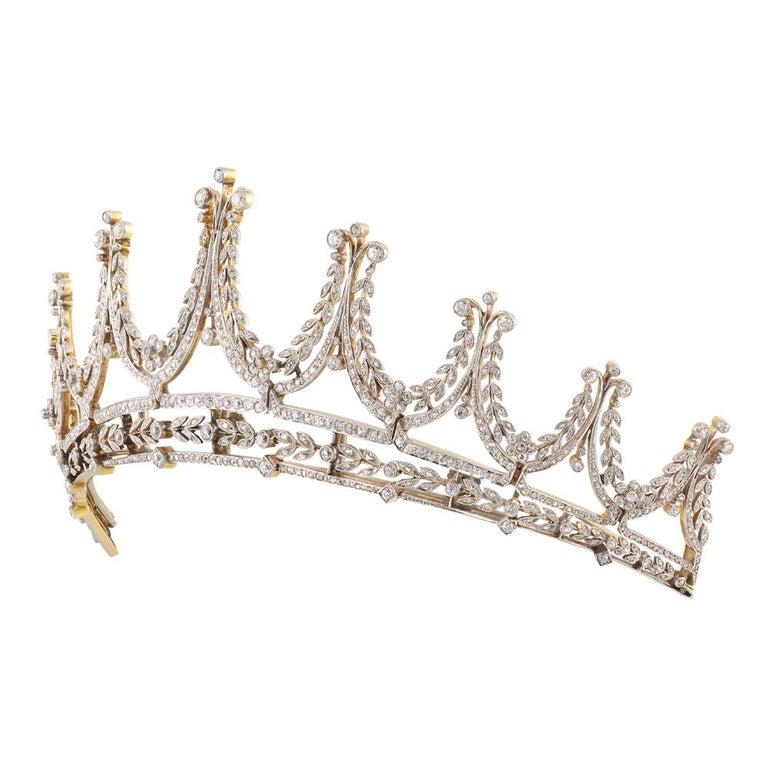 Women's Edwardian Diamond Platinum Gold Tiara For Sale