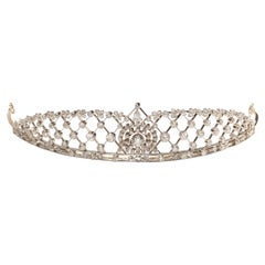 Edwardian Diamond Platinum Lattice Tiara, Circa 1905