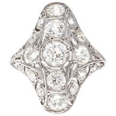 Edwardian Diamond Platinum Navette Ring