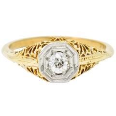 Edwardian Diamond Platinum-Topped 14 Karat Gold Floral Hexagonal Engagement Ring