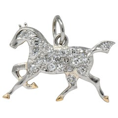 Edwardian Diamond Platinum-Topped 14 Karat Gold Horse Charm, circa 1920