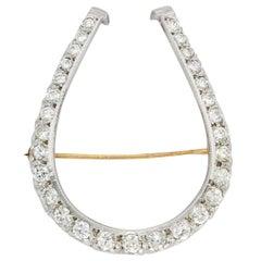 Edwardian Diamond Platinum-Topped 14 Karat Gold Horseshoe Brooch