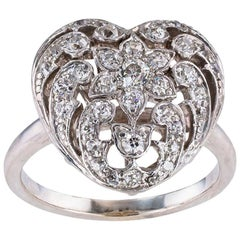 Edwardian Diamond Platinum White Gold Heart Shaped Ring