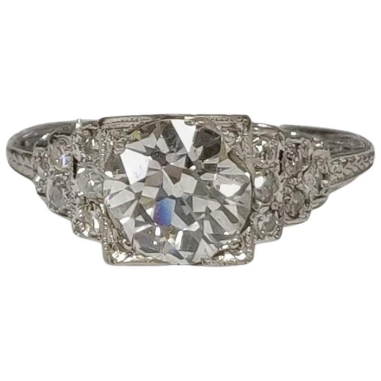 Edwardian Diamond Ring with 1.22 Carat Old European Cut Diamond, Platinum