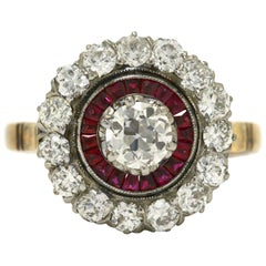Edwardian Diamond Ruby 2 Halo Cluster Platinum 18 Karat Gold Antique Ring