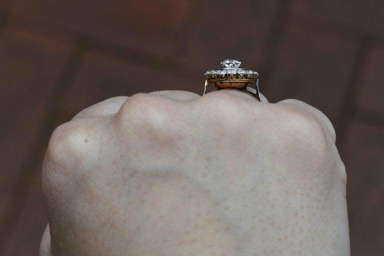Edwardian Diamond Ruby 2 Halo Cluster Platinum 18 Karat Gold Antique Ring In Good Condition For Sale In Santa Barbara, CA