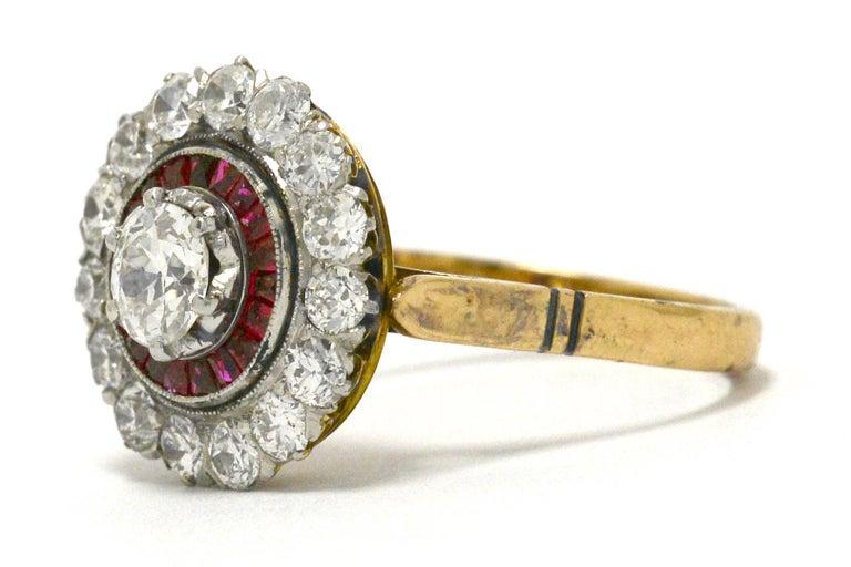 Women's Edwardian Diamond Ruby 2 Halo Cluster Platinum 18 Karat Gold Antique Ring For Sale