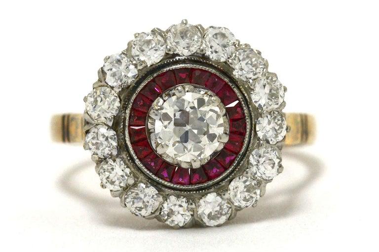 Edwardian Diamond Ruby 2 Halo Cluster Platinum 18 Karat Gold Antique Ring For Sale 1