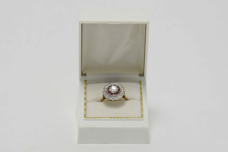 Edwardian Diamond Ruby 2 Halo Cluster Platinum 18 Karat Gold Antique Ring For Sale 2