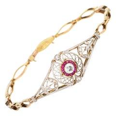 Edwardian Diamond Ruby Bracelet Platinum 14 Karat Gold Vintage Fine Jewelry