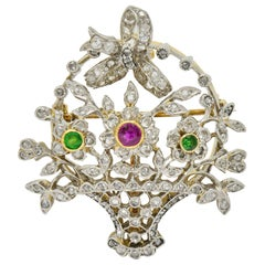 Edwardian Diamond Ruby Demantoid Garnet Platinum 18 Karat Gold Flora Brooch