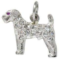J.E. Caldwell & CO. Edwardian Diamond Ruby Platinum Fancy Dog Charm Circa 1920