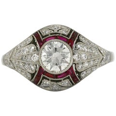 Edwardian Diamond Ruby Platinum Filigree Antique Basket Engagement Ring