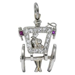 Edwardian Diamond Ruby Platinum Just Married Couple in Carriage Charm