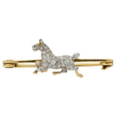 Edwardian Diamond Ruby Platinum-Topped 14 Karat Gold Horse Brooch