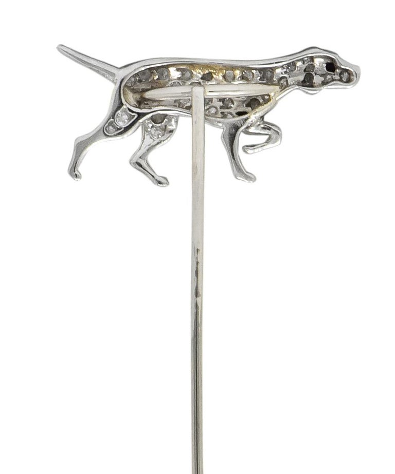Round Cut Edwardian Diamond Ruby Platinum White Gold Pointer Hunting Dog Stickpin For Sale