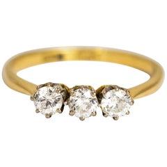 Edwardian Diamond Three-Stone 18 Carat Ring