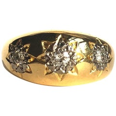 Edwardian Diamond Three-Stone and 18 Carat Gold Band