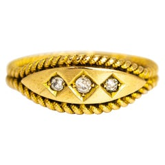 Edwardian Diamond Three-Stone Ring with Double Rope Twisted Band