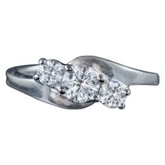 Edwardian Diamond Trilogy Ring 18 Carat White Gold 0.75 Carat Diamond circa 1915