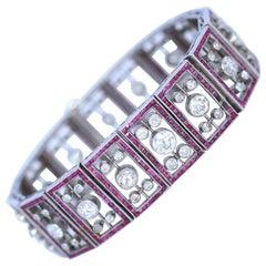 Edwardian Diamonds Rubies Art Deco Platinum Bracelet