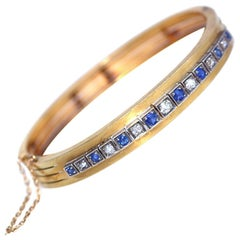 Edwardian Diamonds Sapphires Gold Bracelet Original Box, 1910
