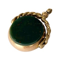 Edwardian Double Sided Bloodstone and Carnelian 9 Carat Swivel Fob