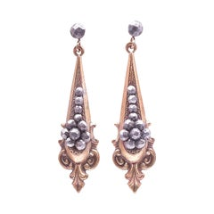 Edwardian Drop Earrings of Gilt Metal with Faceted Cut Steel Balls, c1910