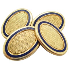 Edwardian Durand & Co. 14 Karat Yellow Gold Enamel Cufflinks