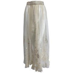 Edwardian Ecru Satin Stitch Embroidered Tulle Skirt 1900s
