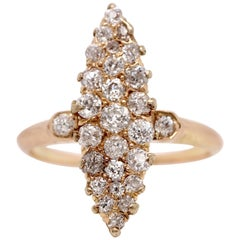 Edwardian Elongated 14 Karat Yellow 1.20 Carat Diamond Gold Ring, circa 1800s