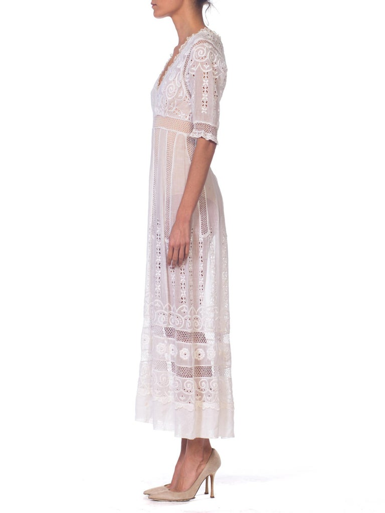 Gray Edwardian Embroidered Organic White Cotton & Lace Tea Dress For Sale