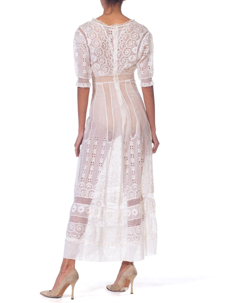 Women's Edwardian Embroidered Organic White Cotton & Lace Tea Dress For Sale