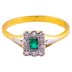 Edwardian Emerald and Diamond 18 Carat Cluster Ring