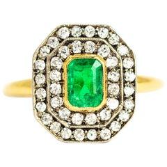 Edwardian Emerald and Diamond 18 Carat Gold and Platinum Ring