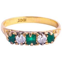 Edwardian Emerald and Diamond 18 Carat Gold Five-Stone Ring