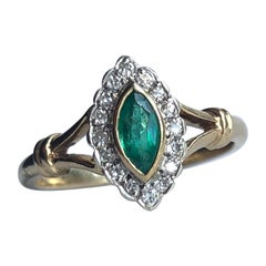 Edwardian Emerald and Diamond 18 Carat Gold Marquise Cluster Ring
