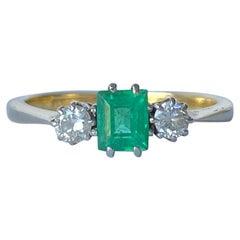 Edwardian Emerald and Diamond 18 Carat Gold Three-Stone Ring