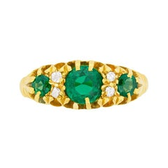 Edwardian Emerald and Diamond Cluster Ring, circa 1905