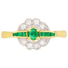 Edwardian Emerald and Diamond Cluster Ring, circa 1910