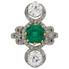 Edwardian Emerald and Diamond Crossover Ring, circa 1915