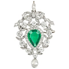 Edwardian Emerald and Diamond Pendant/Brooch