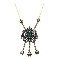 Edwardian Emerald and Rose Cut Diamond Necklace 18 Karat Yellow Gold
