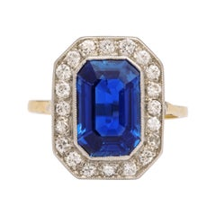 Edwardian Emerald Cut Sapphire Yellow and White Gold Ring